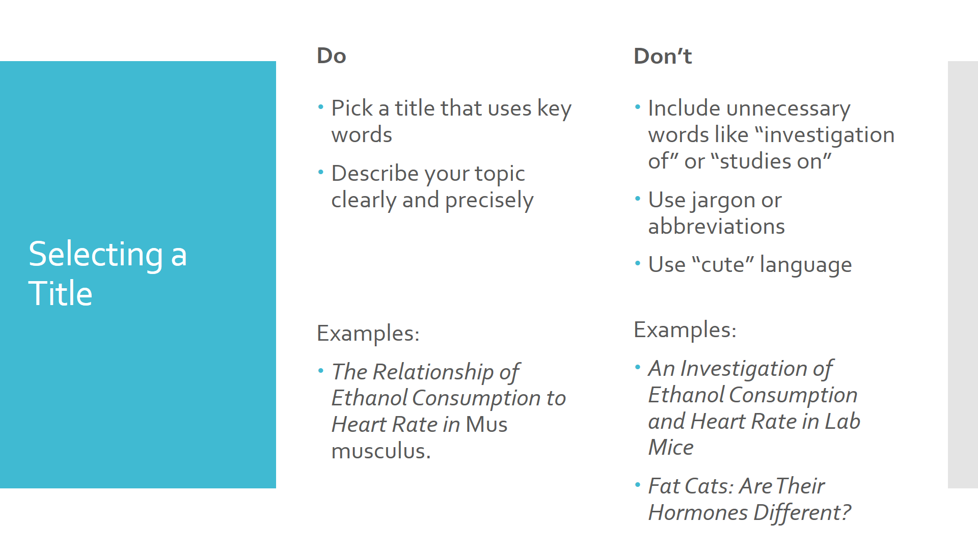 Chart of tips for selecting a title