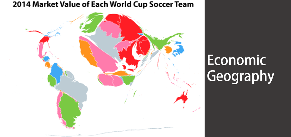 Map of the market value of world cup soccer teams