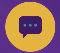 Yellow circle with purple speech bubble