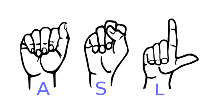 Decorative Image: signing hands spelling out the letters a, s, and l