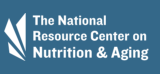 Blue background white text logo of the national resource center on nutrition and aging