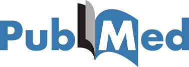 PubMed teal logo with a silhouette of a book open around the M