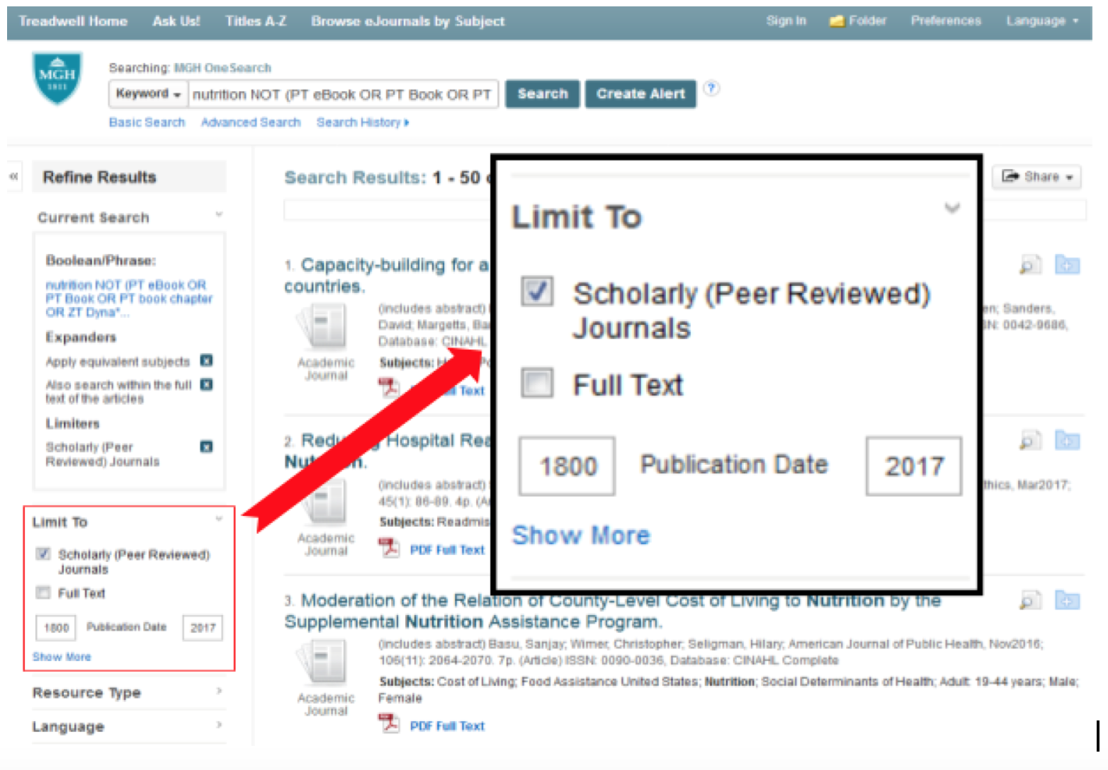 Screenshot of search results page with Scholarly Peer-Reviewed limiting option highlighted.