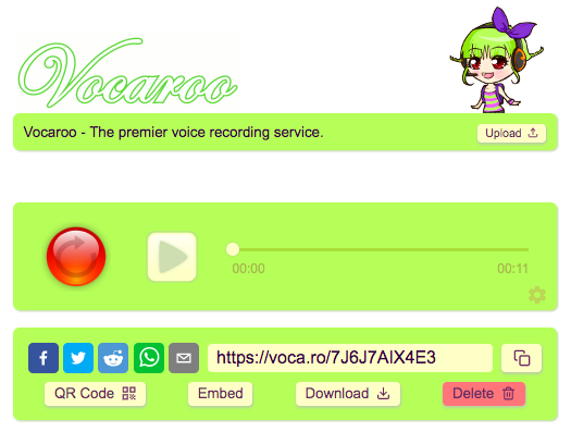 Vocaroo Download Screen