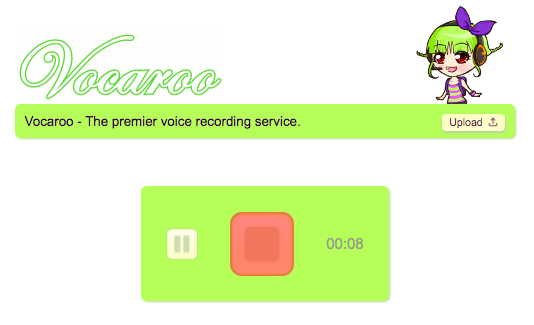 Vocaroo recording screen