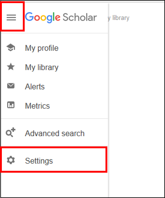 Google Scholar hamburger menu in upper left. Settings link in dropdown