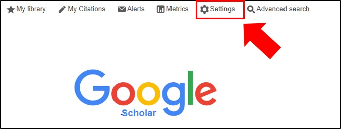 Google Scholar Settings in top navigation bar