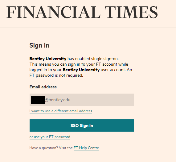 Financial Times Bentley Sign In Screen