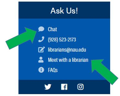"""Ask us"" services available on Cline Library website."