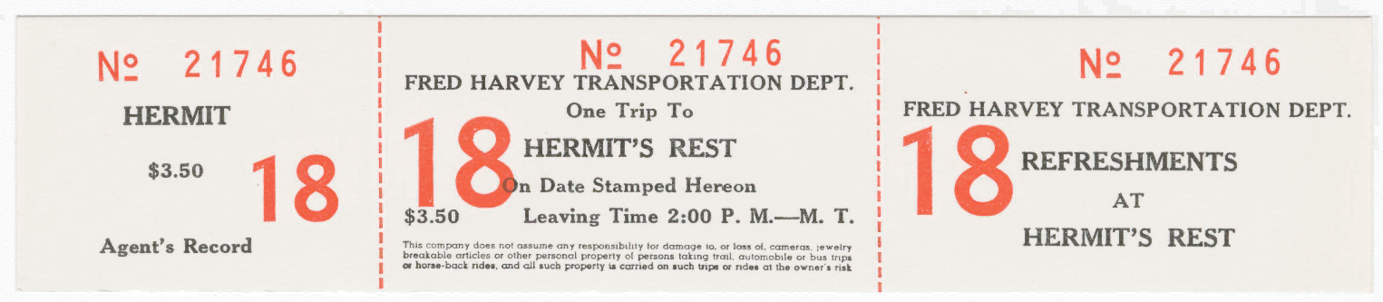 Fred Harvey Transportation ticket from El Tovar to Hermit's Rest [nm280g000s001b014f081i0026]