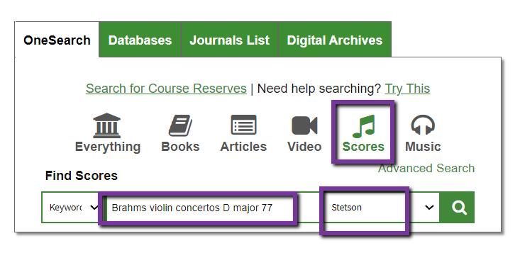 search for scores at stetson brahms violin concertos d major 77