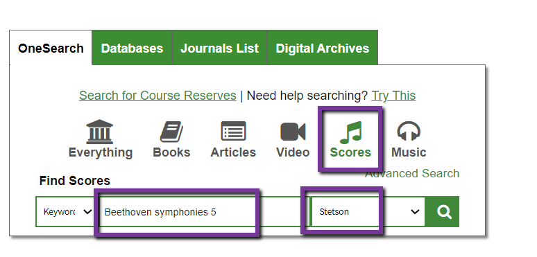search for beethoven symphonies 5 with filters scores and stetson