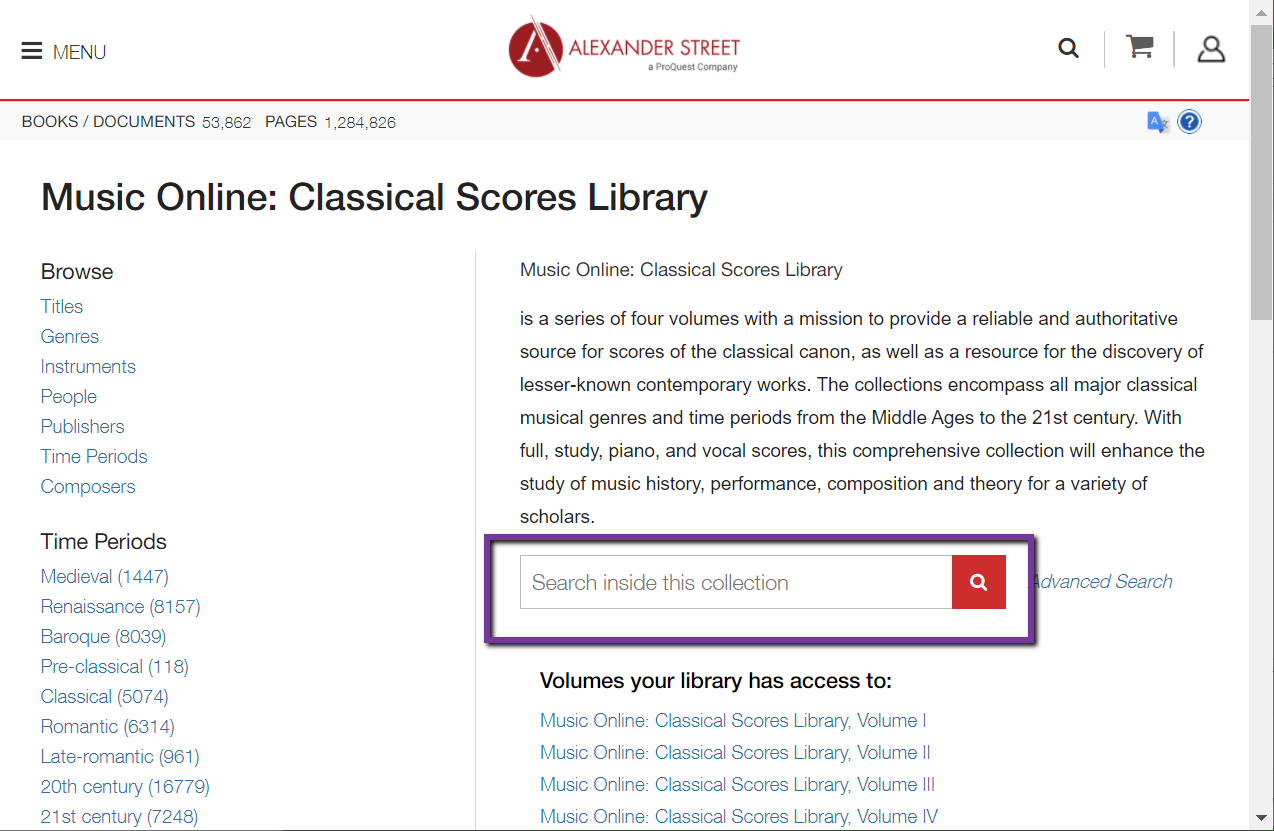 Classical Scores library search