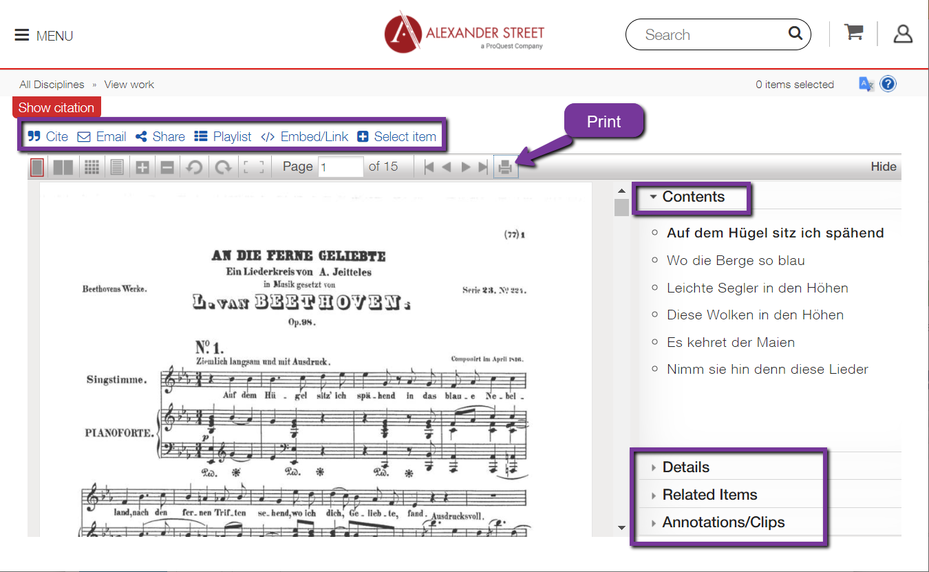 item view in Classical scores library.