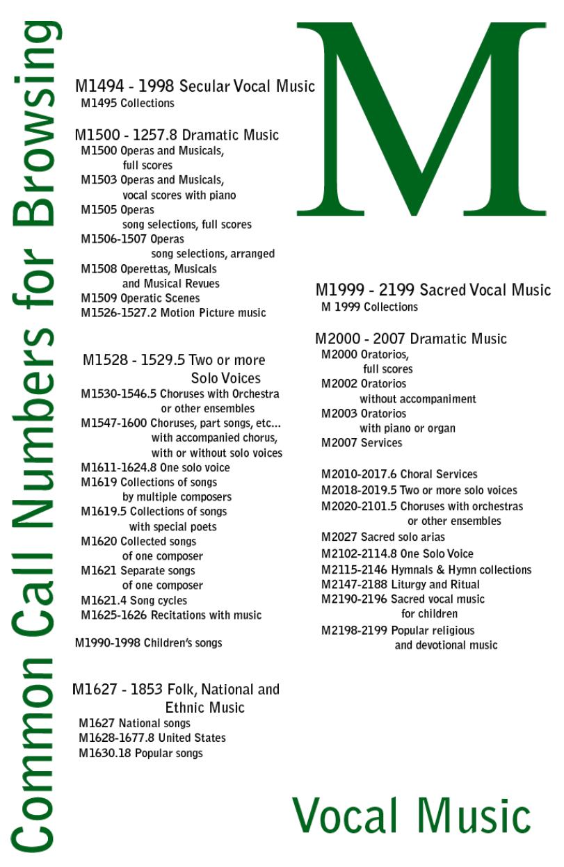 M Call numbers for Vocal Music