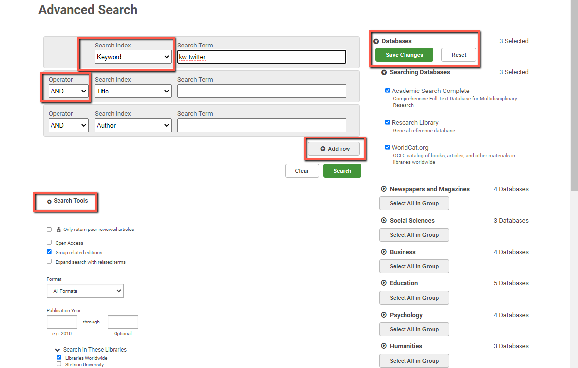 OneSearch Advanced Search screen