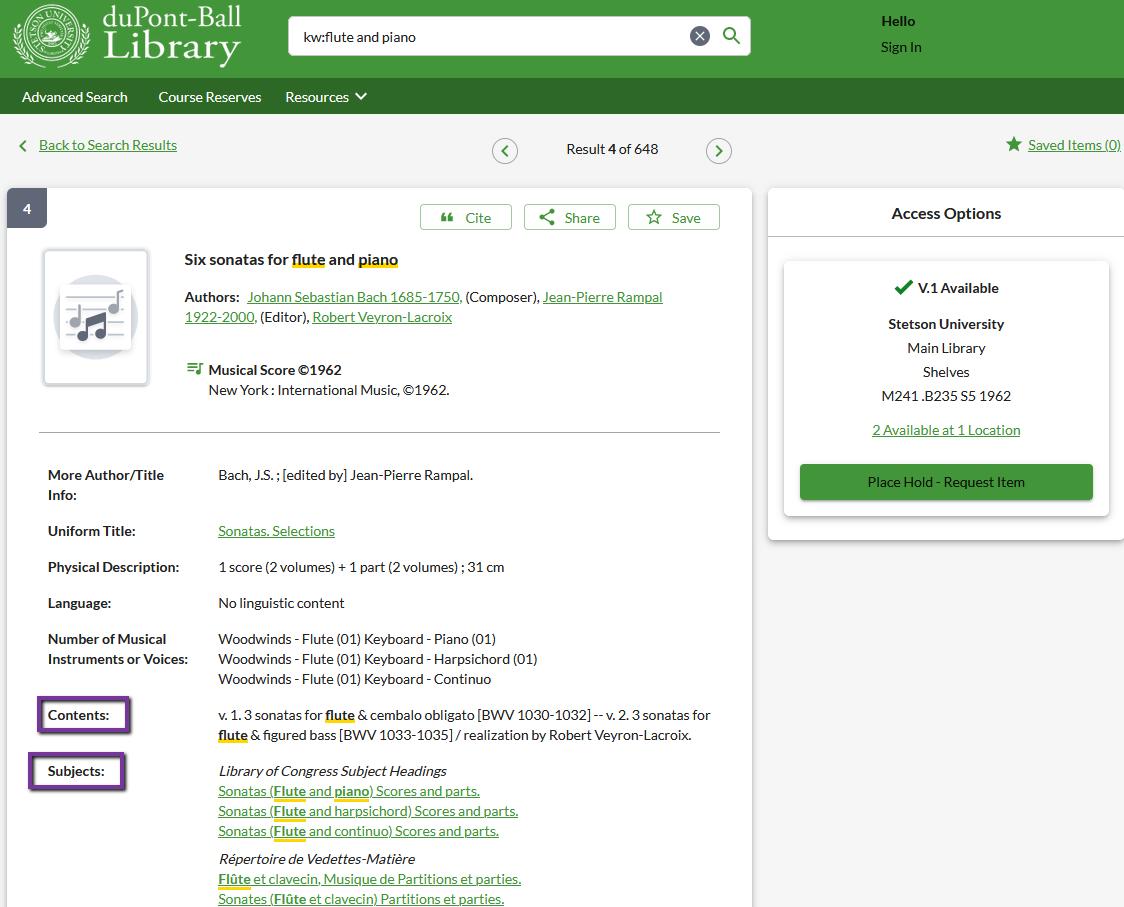 OneSearch description subjects