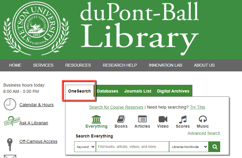 Library website - OneSearch seach box