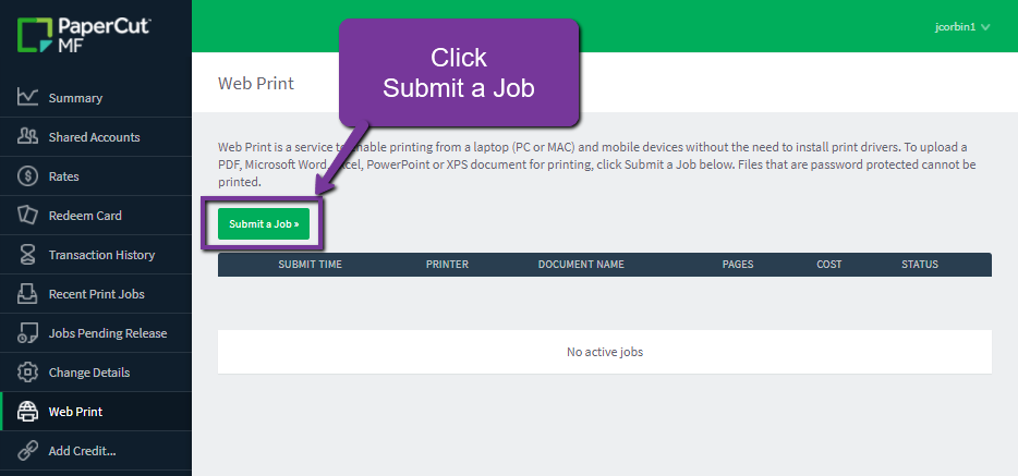click submit a print job