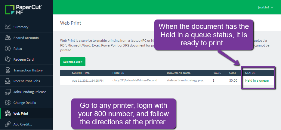 when status is held in a queue, the document is ready to print