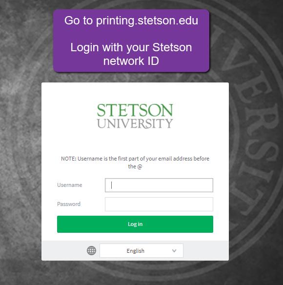 login at printing.stetson.edu