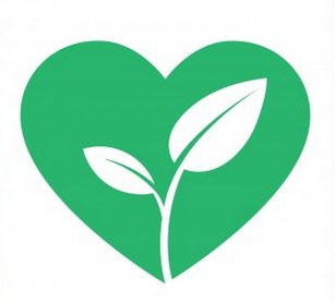 Plant Love Logo. A green heart with two leaves sprouting in the center