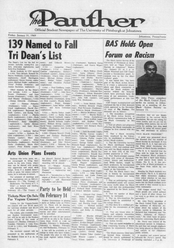 "The Panther student newspaper article ""Black Action Society Holds Open Forum on Racism"""