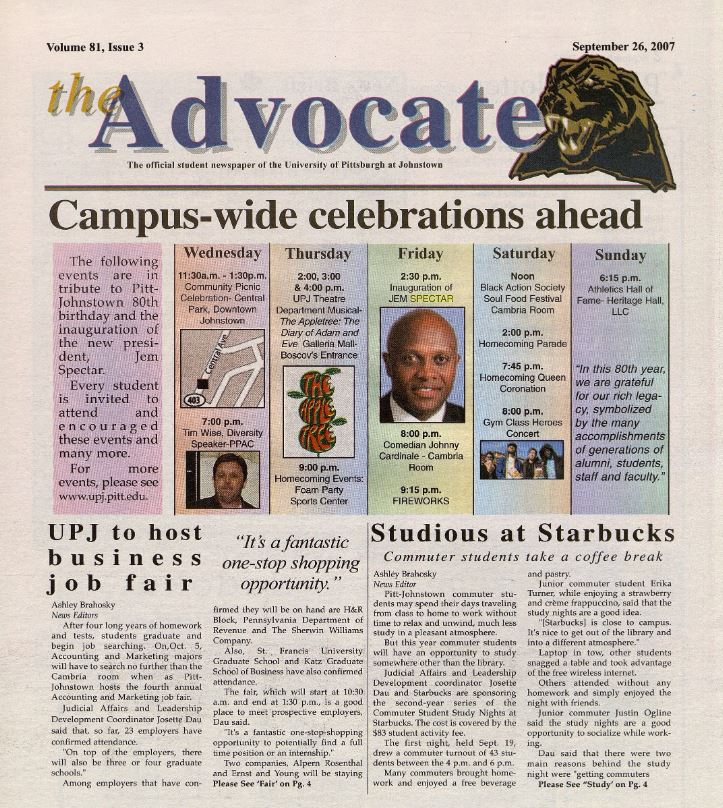 The Advocate - Campus-Wide celebrations
