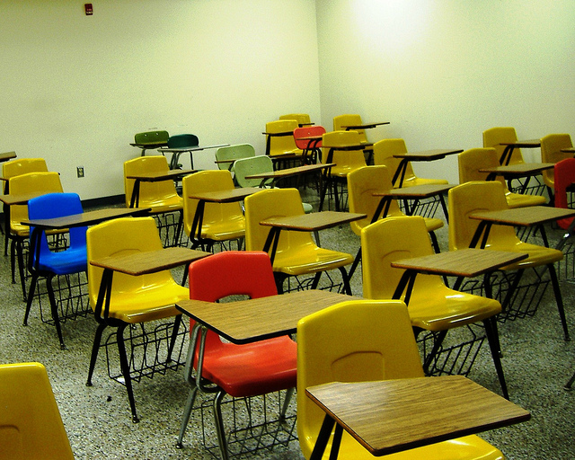 photo of a classroom with desks