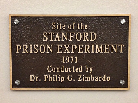 photo of the sign at Stanford University marking the site of Zimbardo's