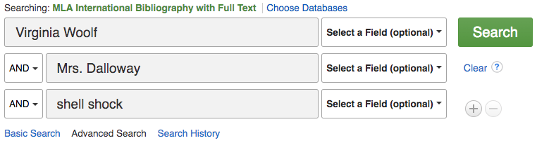 MLA International Bibliography database advanced search screen with the terms Virginia Woolf, Mrs. Dalloway, and shell shock each in a different search box with AND selected as the connector between them