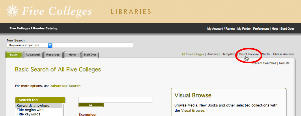 Five College Libraries catalog homepage with Mount Holyoke link circled