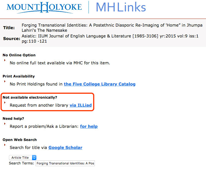 "MH Links page with ""Not available electronically? Request from another library via Illiad"" option circled."