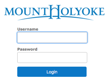 Mount Holyoke login screen