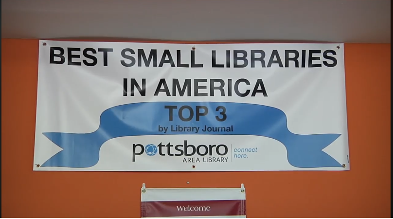Sign that reads Best Small Libraries in America