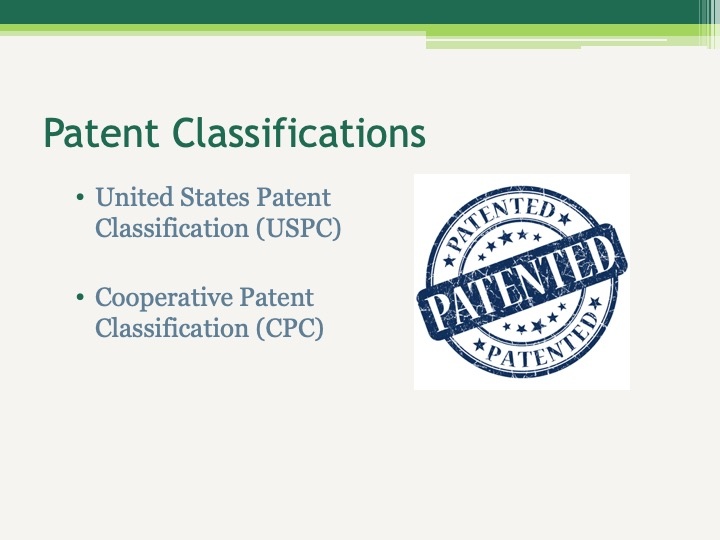 Patent Classifications United States Patent Classification (USPC)  Cooperative Patent Classification (CPC)