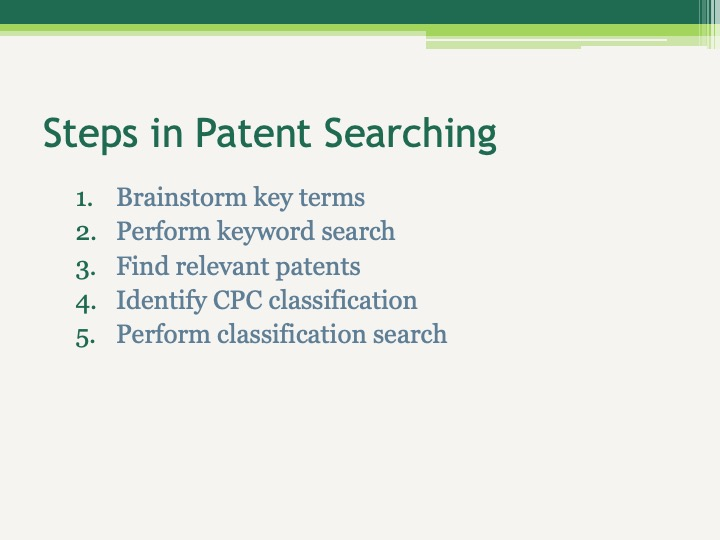 Steps in Patent Searching Brainstorm key terms Perform keyword search Find relevant patents Identify CPC classification Perform classification search