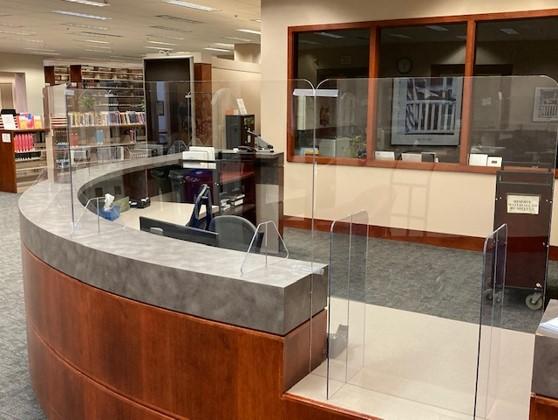 Circulation desk with plexiglass shield