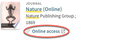 Image of a catalog search for the journal Nature with the Online Access button circled.