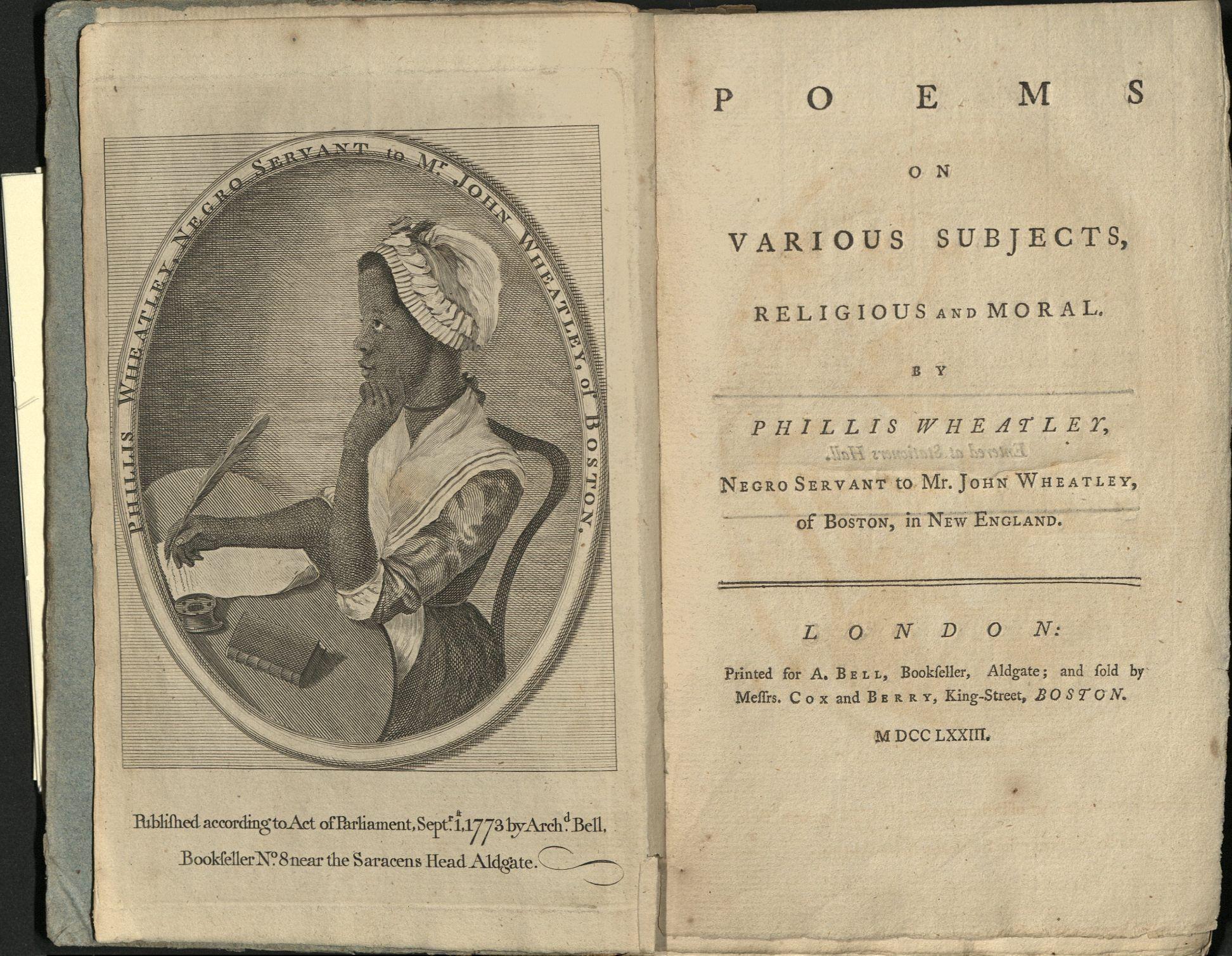 A portrait of Phillis Wheatley