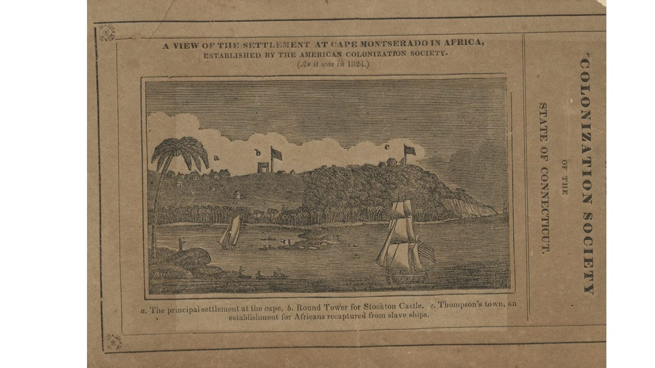Woodcut view of the settlement at Cape Montserado
