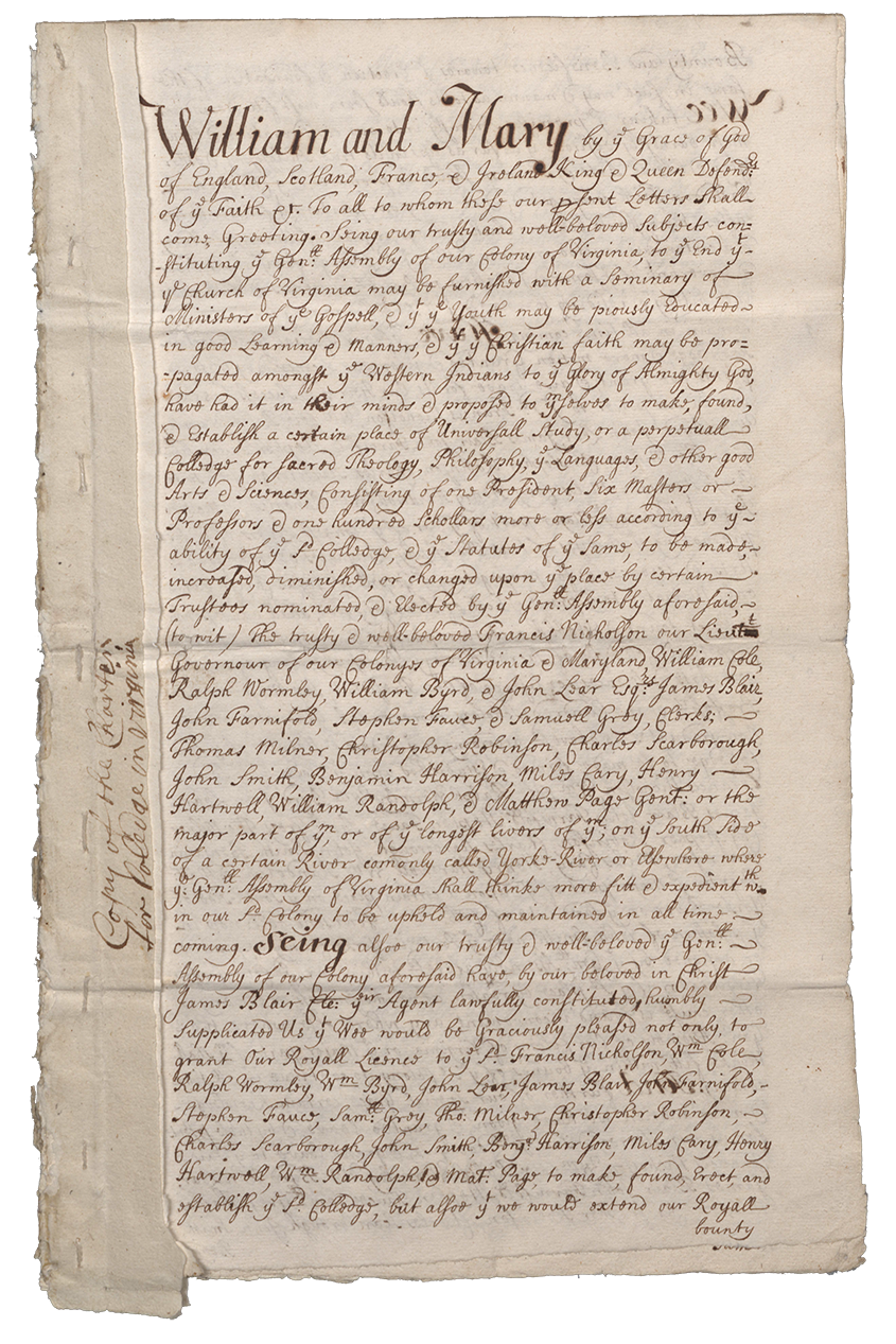 First page of Royal Charter of William & Mary, 1693