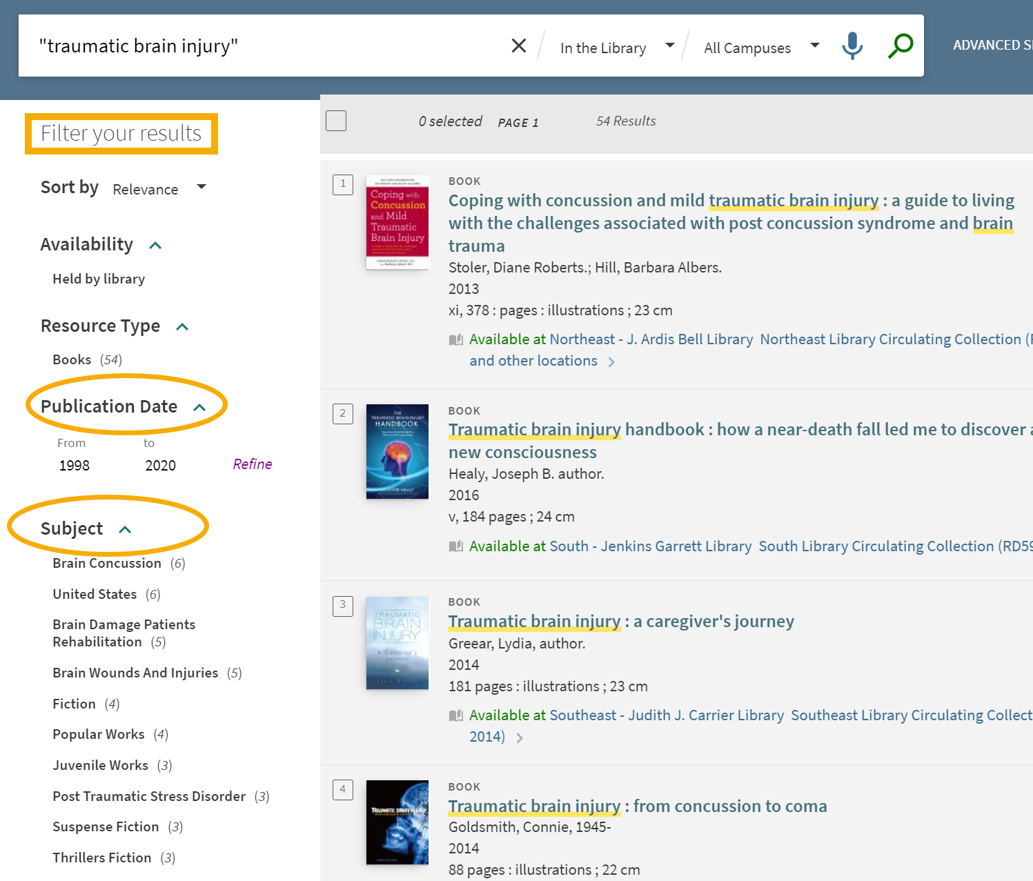 screenshot of search results with yellow boxes to call attention to filter options