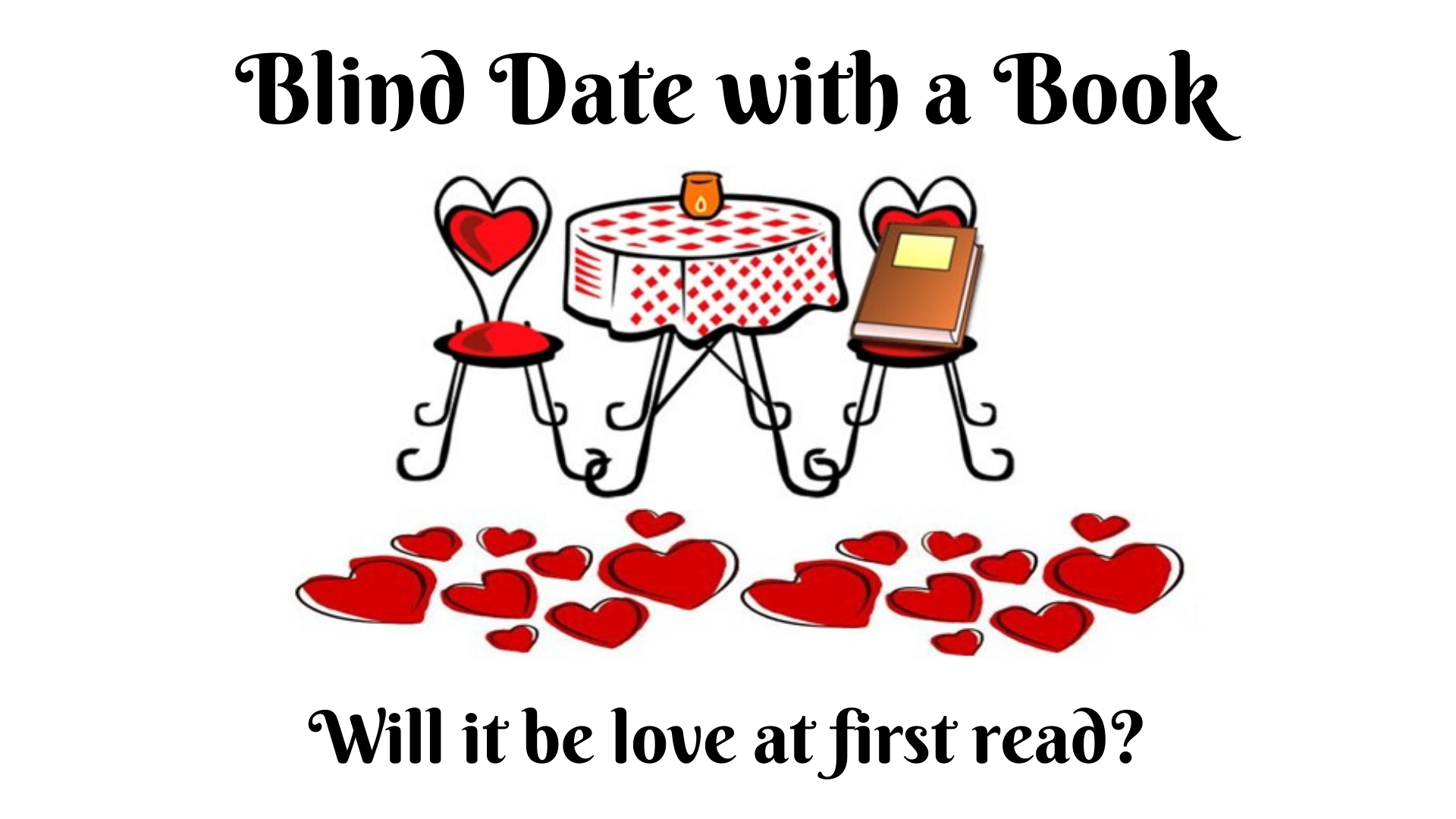a small table with two chairs; a book sits on one chair; red hearts are scattered below the table