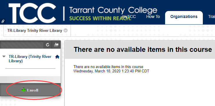 enroll button for TR Library Blackboard organization