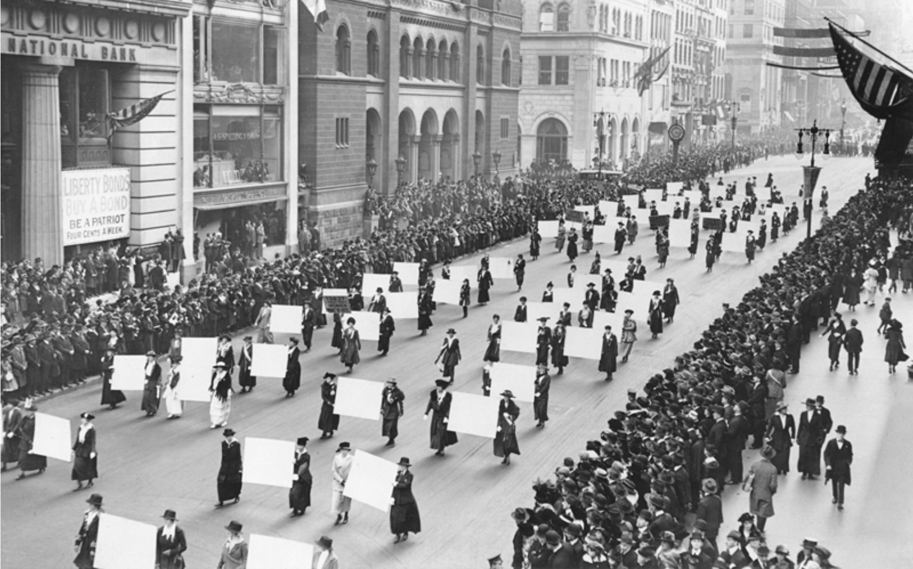 Suffragists parade down fifth avenue in 1917