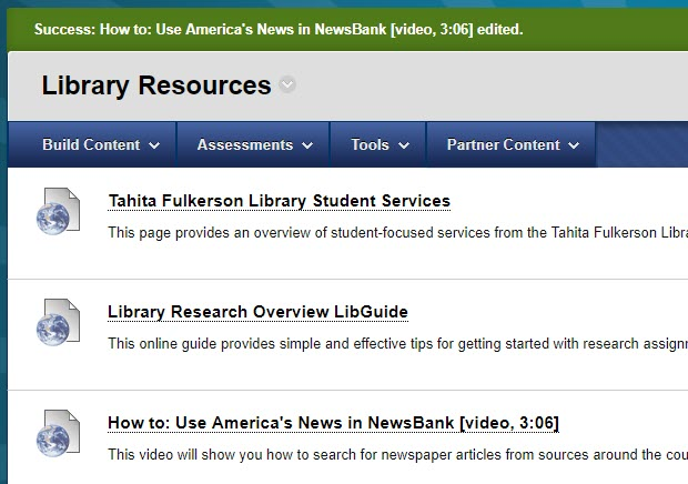 Sample list of external links in the Library Resources Content Area