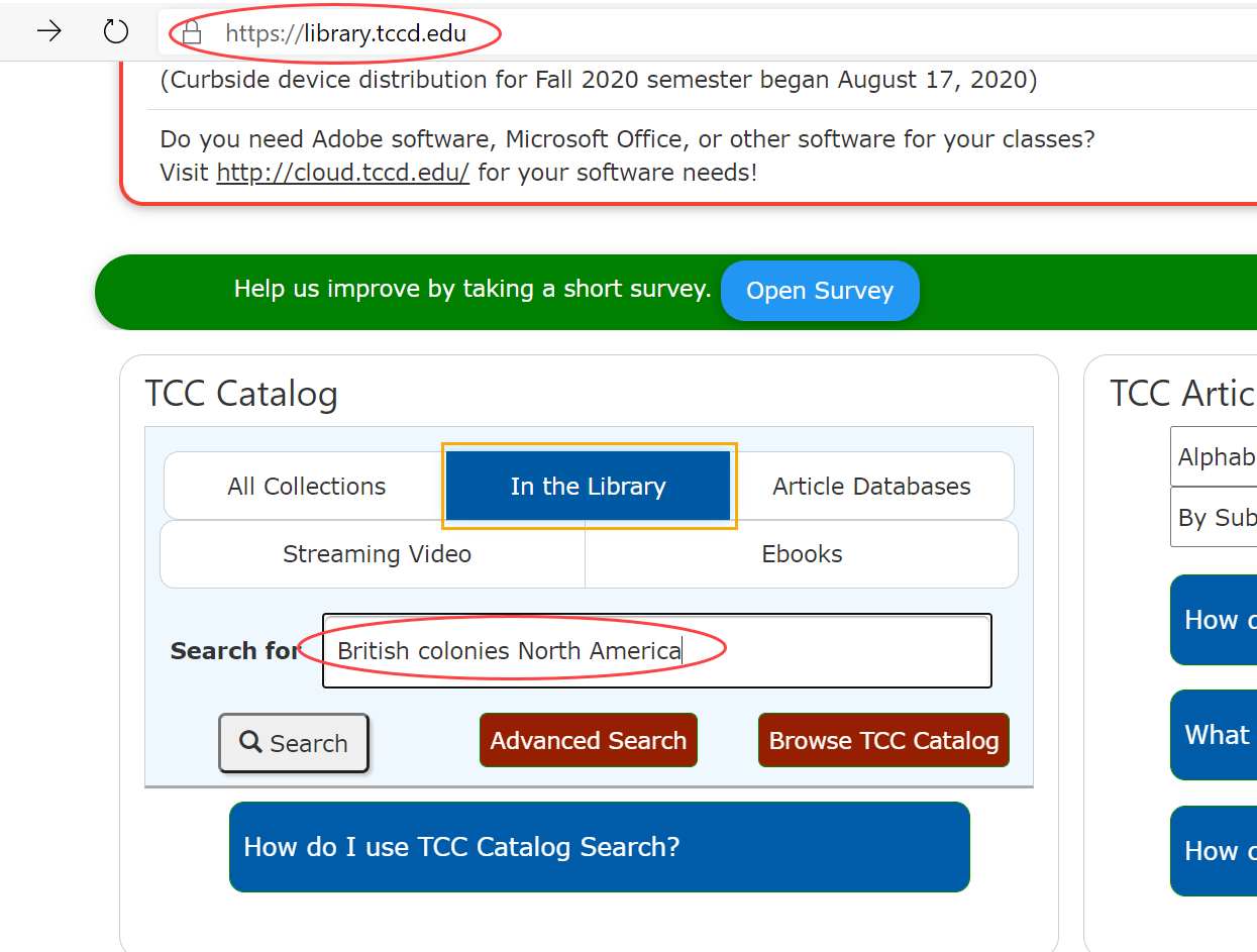screenshot of TCC catalog search box with keywords entered; text reads British colonies North America