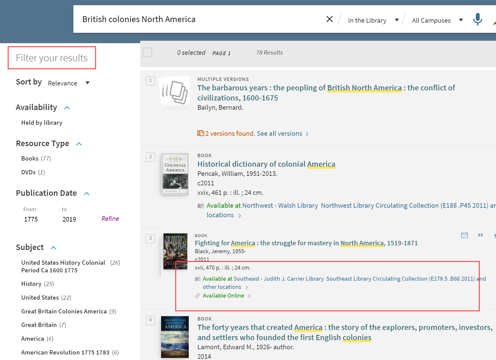 screenshot of search results with red box around Filter your results and availability