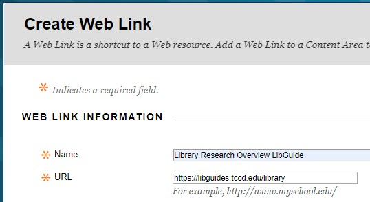 Dialogue box open to create and name a web link with URL
